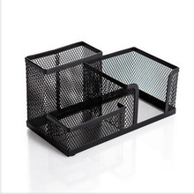 3-Compartments Multifunctional Desk Organizer Pencil Cup Pen Holder Office Supplies Desktop Stationery Storage Box (Black)