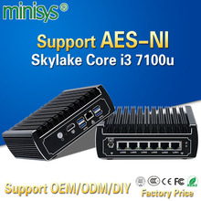 Best sellers mini pc pfsense 6 GBE nic intel skylake core i3 7100U ubuntu linux firewall cloud computer fanless barebone server(China)