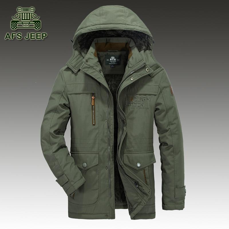 Loose Winter Snow Hooded Men Jackets Plus Size 6XL New 2017 Brand AFS JEEP Original  Warm Thick Fleece Windbreaker Casual Coats