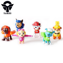 Patrulla Canina with Shield Brinquedos 6Pcs Set 6cm Patrulha Canina Patrol Puppy Dog Pvc Action figures Juguetes Kids Hot Toys