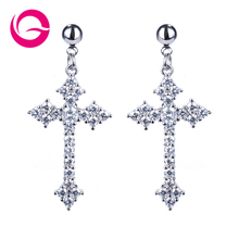 High Quality Inlaid Cross Dangle Earrings,New Listing Crystal Cross Earrings,Fashion Jewelry Earrings For Woman GLE3737
