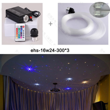 Free shipping On sale 16W LED Fiber Optic Star Ceiling Lights Kit 0.75mm 300 strand 3M RF remote control