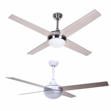 52inch Stainless Steel Ceiling Fan Light with Remote for Indoor Bedroom Living Room White Summer Cooler For Living Room Decor