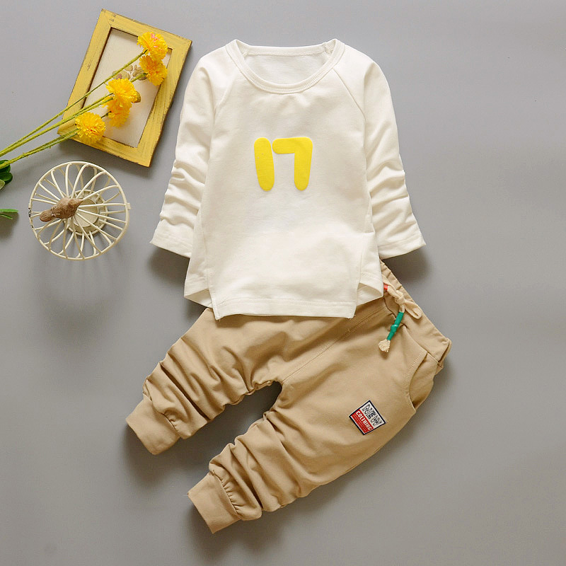Baby Two-Piece Suit Cotton Spring 2017 Fashion Cotton suit Set Can Two Sets of Crotch Boys and Girls Baby YD180<br><br>Aliexpress