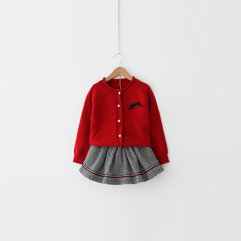 Fashion 2018 Autumn Winter New Suit Children Cardigan Kilt Girls Baby Two-pieces Suit Thicken Sport Cardigan Sweaters Sets 2-10T<br>