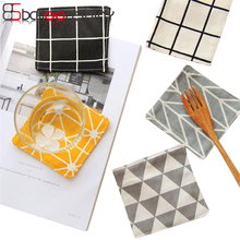 BalleenShiny Kitchen Accessories Cotton Cloth Nordic Ins Zakka Black White Simple Geometry Mats Pads Dining Table Placemats(China)