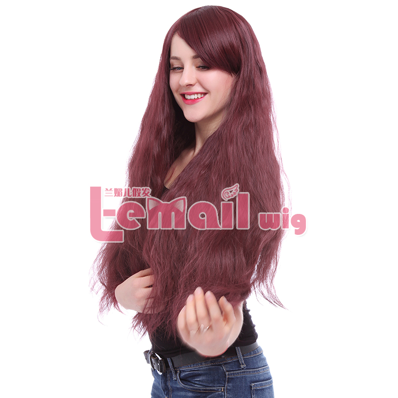 Scalded Corn 85cm/33.46inch Red Wine Lolita Long Curly Fashionable  Wigs Full Cap Wigs Anime Cosplay Wigs<br><br>Aliexpress