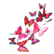 12pcs 3D double layer feather butterfly sticker with Hooks window/door curtain clothes Dress decor butterflies drop shipping