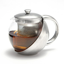 Home Stainless Steel Glass Faced Teapot Strainer Lid Herbal Tea Leaf Removable Infuser Filter Tea Pot Office Tea Coffee Kettle