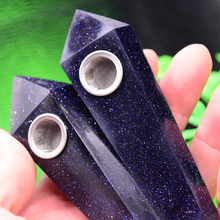 Buy 2pcs high quartz crystal blue sandstone lm107 healing wand smoking pipe gift for $30.33 in AliExpress store