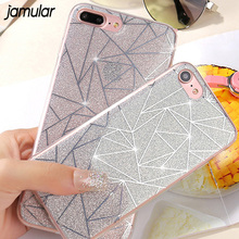 JAMULAR Bling Glitter Case For iPhone 8 7 6 6s Plus Grid Powder Back Cover For iPhone 7 6 6s Plus Protective Shell Fundas Coque(China)