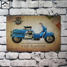 Blue Scooter Motorcycle 20x30cm Retro Plaques Gallery Paintings Advertising Shop Bar Wall Decor Poster Metal Tin Signs