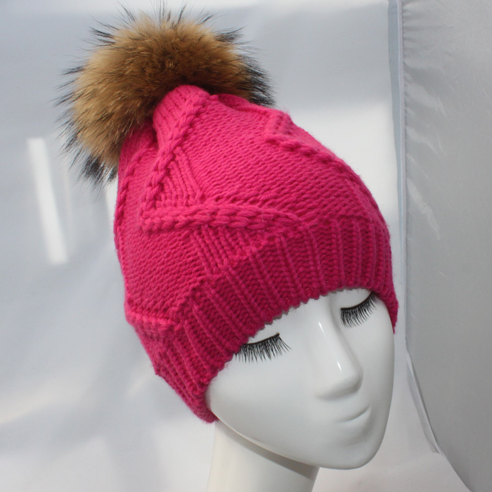 2015 Brand Winter Womans Knitted Beanie Thick Wool Ladies Knitted Hats Caps With Genuine Raccoon Fur Pompom Hat for Women W732Одежда и ак�е��уары<br><br><br>Aliexpress
