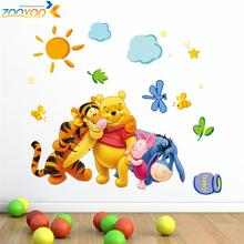 winnie the pooh friends wall decals for kids room decorative stickers diy adesivos de paredes cartoon movie decals 2006.(China)
