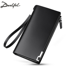 DEELFEL Genuine Leather Men Wallets Long Purse Business Male Wallet Multifunctional Zipper Clutch Bags Card Cash Holder Coin(China)