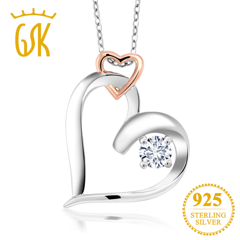 Charles & Colvard Forever Classic Round  0.33ct (DEW) Created Moissanite 925 Sterling Silver Mother's Necklaces & Pendants