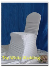White spandex  ruffled chair covers with buckle wedding chair covers banquet chair covers  free shipping  for sale