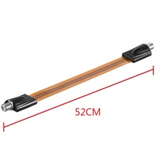 Extrem slim Flat RG6 Coaxial Cable Female F Connector Fits Under Doors Windows 52cm long(China)