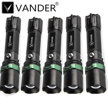 5Pcs/Lot VANDER High Power CREE XML T6 Tactical LED Lamp Flashlight 18650 Waterproof Zoomable Torch lights lanterna tatica Lampe