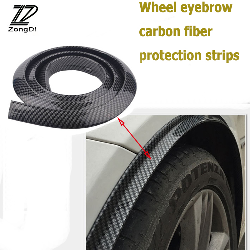 ZD 2Pcs Volvo S60 V70 XC90 Subaru Forester Peugeot 307 206 308 407 Car Carbon Fender Wheel Edge Eyebow Stickers Strip Covers