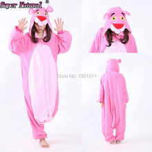 HKSNG Cheap DHL Party Leopard Pink Panther Pajamas Animal Winter Warm Women Onesies Adult Kigurumi Cosplay Costume Hooded(China)