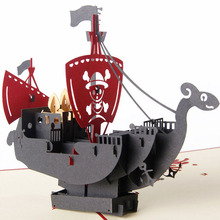 3D Pop Up Cards Handmade Pirate Ship Happy Birthday Christmas Halloween Gift Postcard(China)