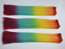 "24"" Beautiful Ombre Rainbow Color Synthetic Hair Weft  Straight Weaving Hair Extensions High Temperature Synthetic Hair 3pcs/lot"