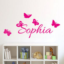 Personalize Girl's Name Wall Sticker Butterfly With Baby Name Wall Decals Quotes Custom Name Stickers Muraux Vinilos Parede A513