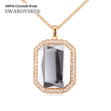 2016 Hot Sale New design! Geo Square long necklace Crystals from Swarovski good for Valentine gift(China)