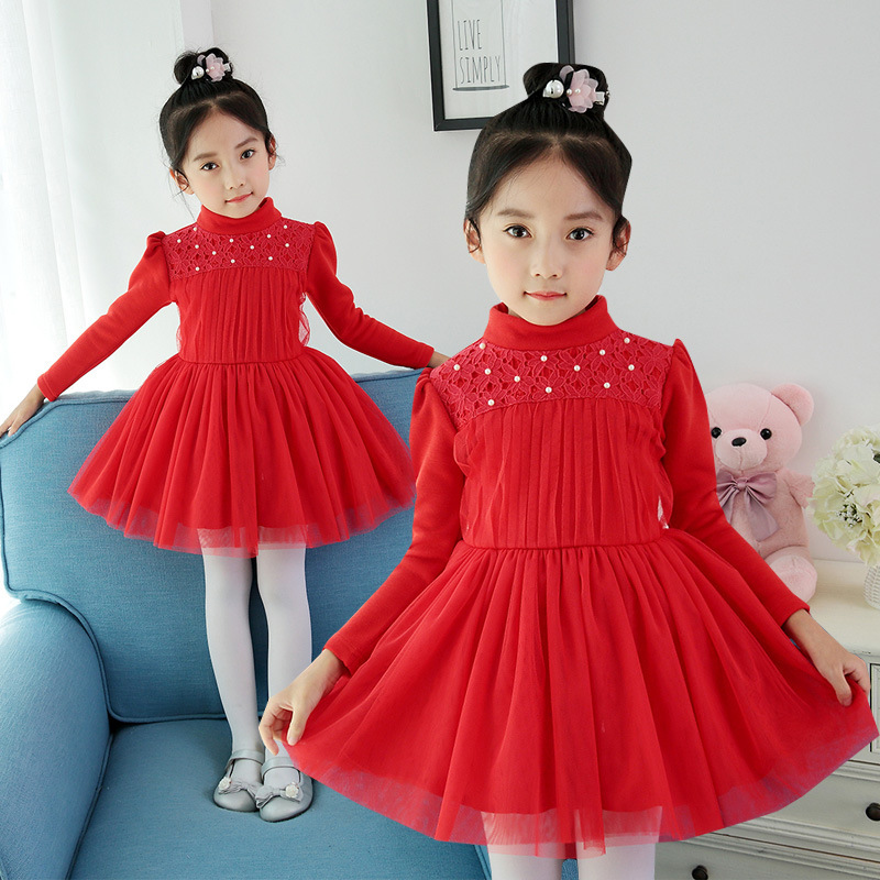 Kids Thick Winter Girls Dress Long Sleeve Solid Fashion Princess Mesh Dresses Clothes O-Neck Plus Thick Festival Wear Vestido<br>