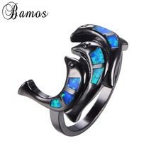 Bamos Unique Jewelry Fish Style Blue Fire Opal Ring Black Gold Filled Women Men Wedding Halloween Party Rings Anillos RB1016