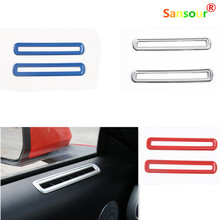 ABS Interior Side Door AC Vent Decoration Cover Circle Red/Blue/Silver Color Fit For Mustang 2015 2016 Car-Styling