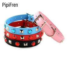 PipiFren Small Dogs Collars Spiked Rivet Necklace Rhinestone For Pets Cat Collar Chihuahua Accessories harnais pour petit chien
