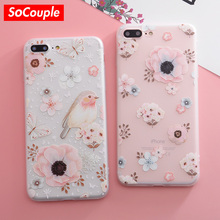 SoCouple Relief Flower Bird TPU Phone case For iphone 5 5s SE 7 8 7/8 plus X Case Scrub Silicone Cases For iphone 6 6S Plus(China)