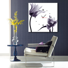 1 Piece Unframed Plain Flowers Clock Canvas Painting wall Art can ce used for clock For Living Room Home Decor