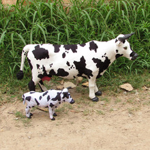 big and small simulation cow toys creative handicraft cow model gift about 52cm,22cm