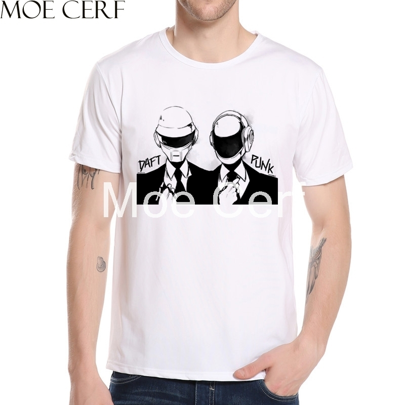 Cartoon Daft Punk Portrait T Shirt Summer Funny Punk Singer Design T-shirt Vintage Short Sleeve Fashion Casual Male Top 9-P-212