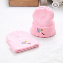 3Color Pink 2017 Autumn Winter Casual Hedging Crochet Child Hat Warm Letter Knitted Kids Hats For Unisex Solid Wool Baby Caps