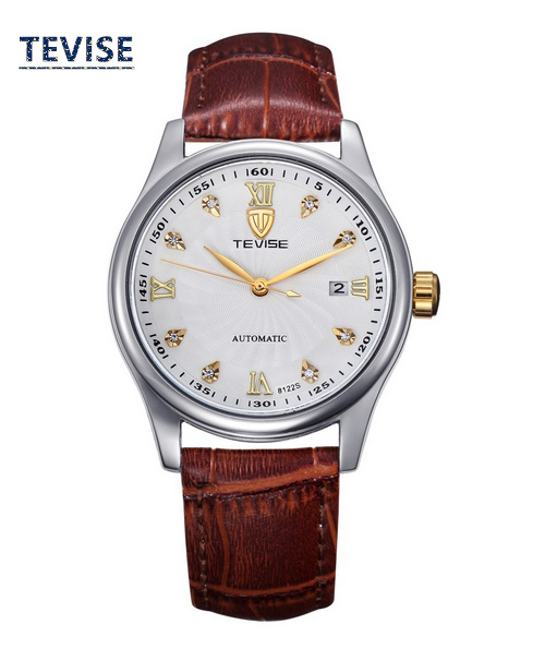 New Arrival Mens Self-Wind Mechanical Watch Fashion Waterproof Calendar Watches Golden And White Dial Men Watches B027<br>