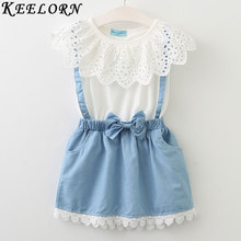 Keelorn Girls Clothing Sets 2017 New girls cute dress,white belt denim dress sleeveless cotton summer dress lovely girls clothes(China)