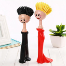 Creative Human Shape Kitchen Cleaning Brush Can Stand Pan Pot Toilet Brush Cleaning Tool 3C