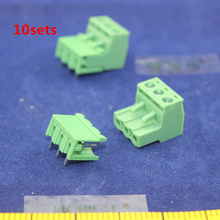 Free shipping 10 sets ht5.08 3pin Right angle Terminal plug type 300V 10A 5.08mm pitch connector pcb screw terminal block