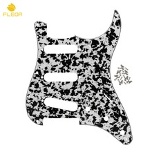 FLEOR SSS 11 Holes Guitar Pickguard Pick Guard with Screws for FD ST Modern Style Electric Guitar Parts ,Black Agate