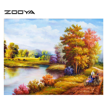 ZOOYA DIY 3D Diamond Painting The Country Road Landscape Life Household Decoration Mosaic Embroidery Fabric Handicraft AT091