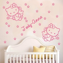 HELLO KITTY 2 angels with wands name and stars wall STICKER DECAL Children Girl Kids Wall Decals adesivo de parede D086(China)