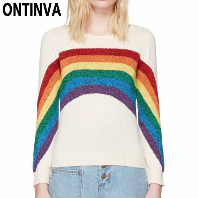 Großhandel Mode Regenbogen Gestreifte Strickjacken Bunte Beiläufige ...
