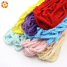 New 5Yards/Lot  Hot Sale 5MM Pom Pom Trim Ball Fringe Ribbon DIY Sewing Accessory Lace 12 Colors  For Home Party  Decoration