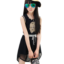 Owl Pattern Girls' Sleeveless Dress Summer Style Chiffon Sundress for Kids Girls Tank Dress for Teenage Girls AA1317