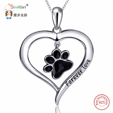 Silver Enamel Cat Dog Paw Necklace Girl Chain 925 Sterling Silver Love Heart Necklaces & Pendants For Women Fashion Jewelry 2018(China)