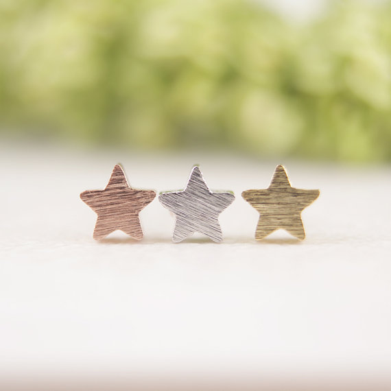 Gold Silver Pink Gold Little Star stud Earrings